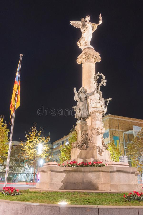 Monument Mila i Fontanals night view. Vilafranca del Penedes night view of the monument to Mila i Fontanals May 4, 1818 – July 16, 1884 a catalan scholar royalty free stock photography