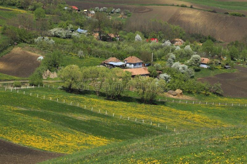 vilage del rumeno delle colline immagine stock