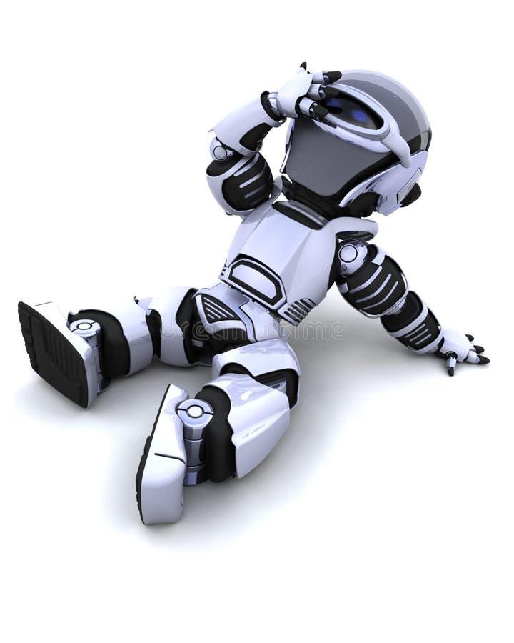 vilande robotsun för gullig cyborg stock illustrationer