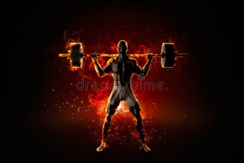 Vild flammande kroppsbyggare med skivstången vektor illustrationer