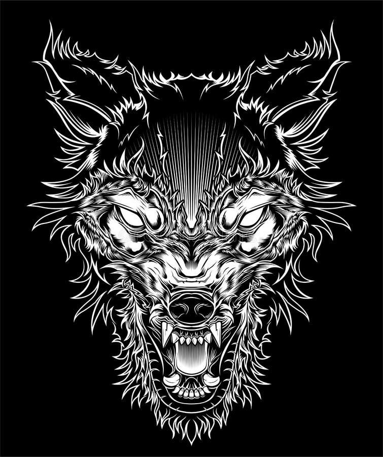 Vild varg f?r vektorillustrationhuvud, ?versiktskontur p? en svart bakgrund royaltyfri illustrationer