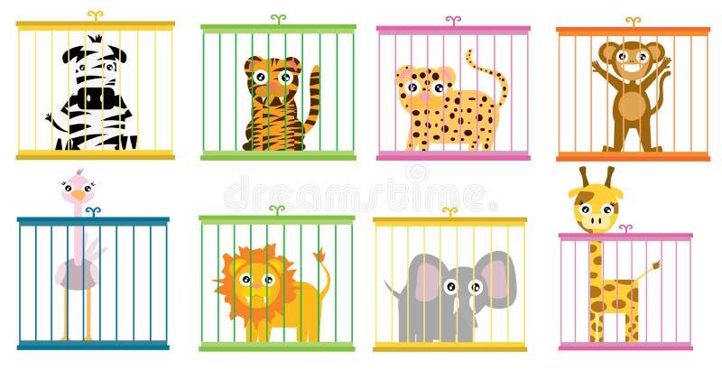 Vilda djur bak skjulet i zoouppsättning vektor illustrationer