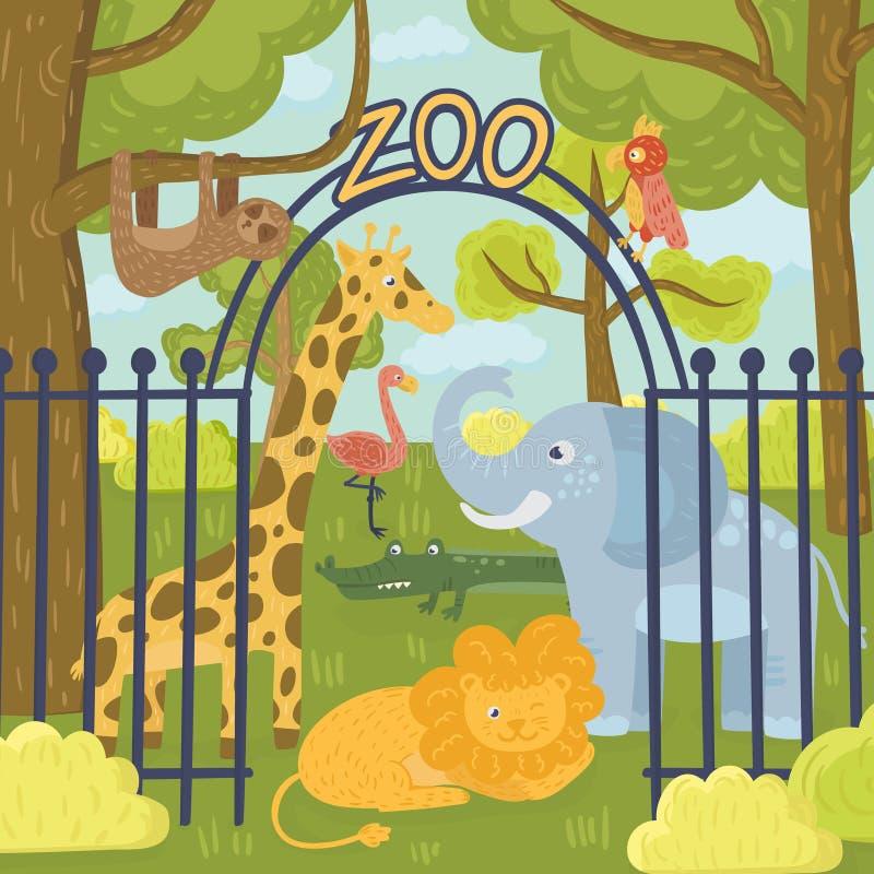 Vilda djur i zoo parkerar Giraff, elefant, papegoja, lejon, sengångare, koala, flamingo, krokodil och tiger Natur stock illustrationer