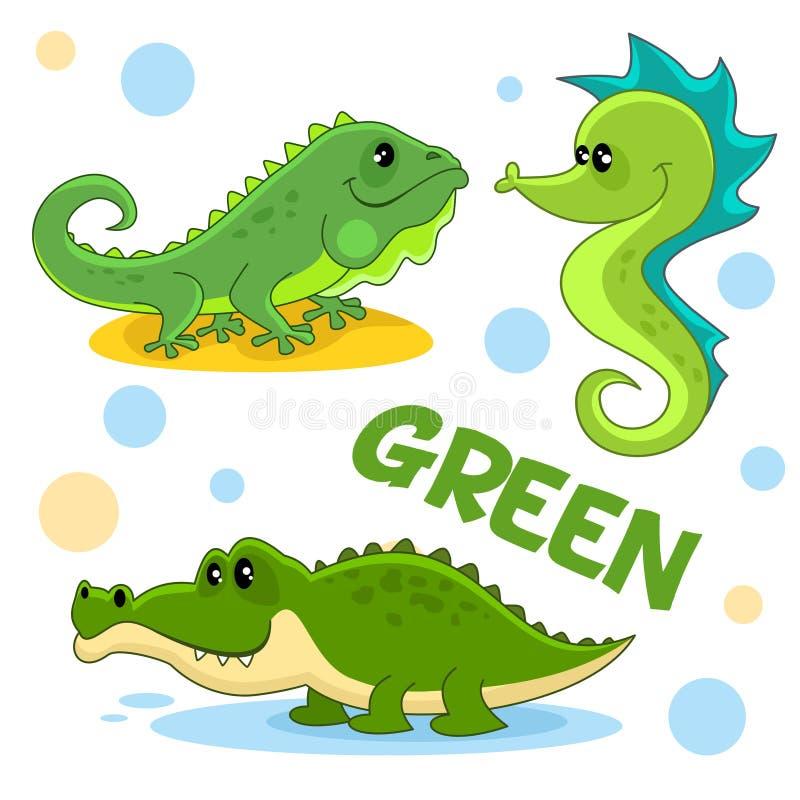 Vilda djur och kryp av grön färg 3 stock illustrationer
