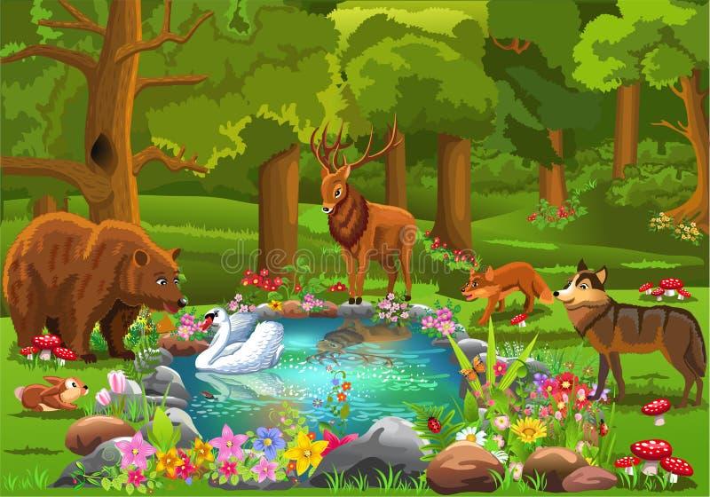 Vilda djur som kommer till skogdammet som omges av blommor i en sagaatmosfär stock illustrationer