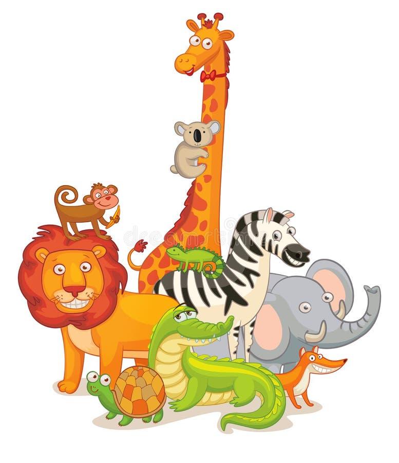 Vilda djur som tillsammans poserar vektor illustrationer