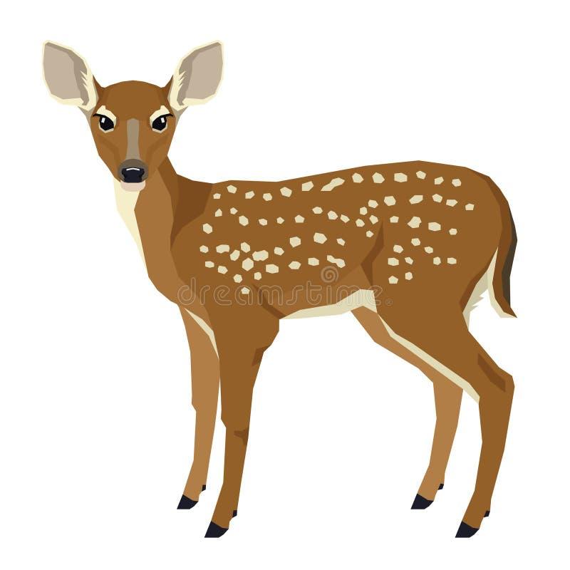 Vilda djurvektorillustration av att lisma isolerad geometrisk stil för objekt vektor illustrationer