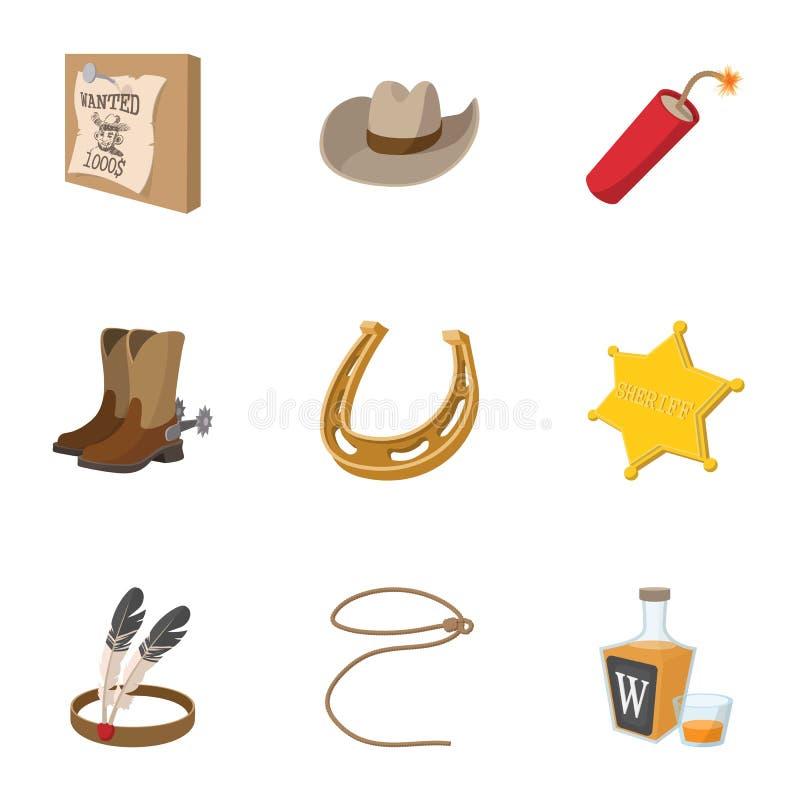 Vilda västern av Amerika symboler ställde in, tecknad filmstil royaltyfri illustrationer