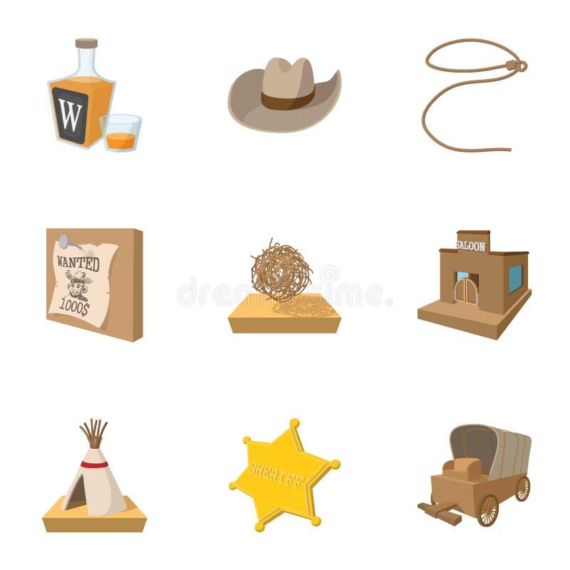 Vilda västern av USA symboler ställde in, tecknad filmstil vektor illustrationer