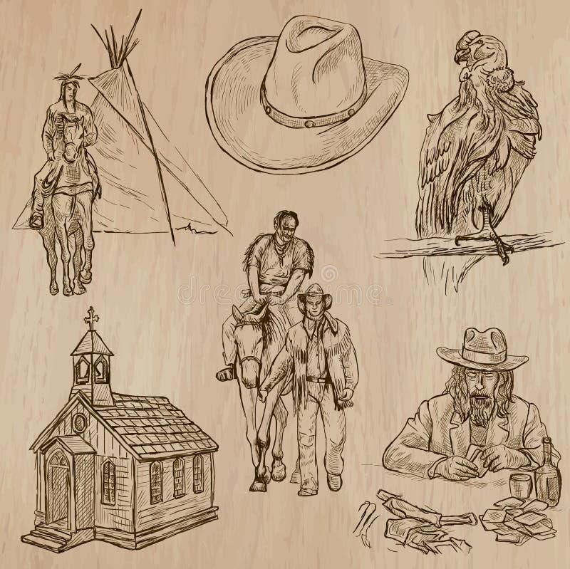 Vilda västern - hand dragen vektorpacke vektor illustrationer