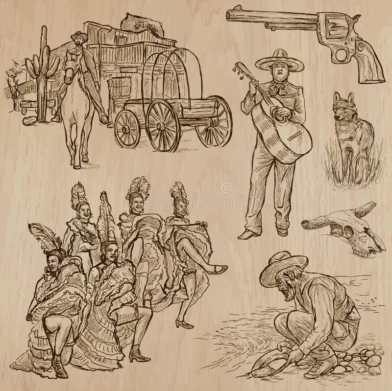 Vilda västern - hand dragen vektorpacke royaltyfri illustrationer