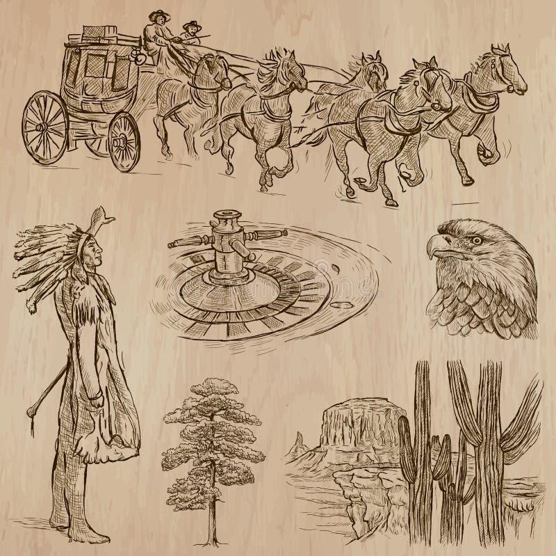 Vilda västern - hand dragen vektorpacke stock illustrationer