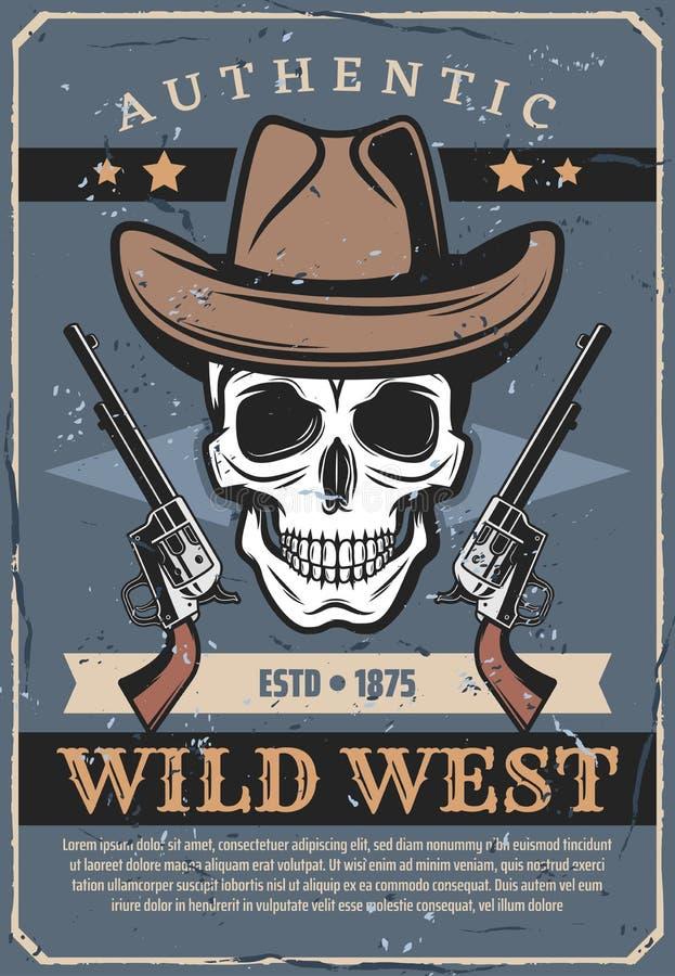 Vilda västern, vektorskalle i hatt och revolver royaltyfri illustrationer