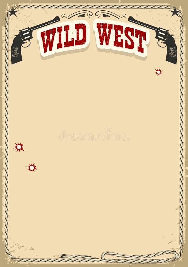 Vilda västernaffischbakgrund med revolvrar och text på gammalt papper vektor illustrationer