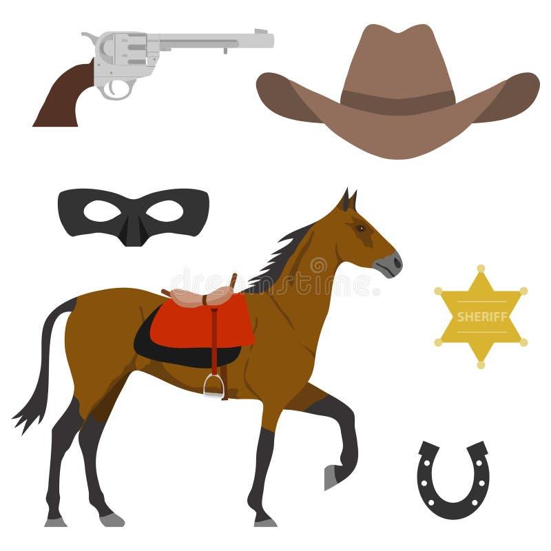 Vilda västernbeståndsdelar av den lösa västra a-hästen, ett lock för cowboy` s, en stjärna för sheriff` s, en hästsko vektor illustrationer