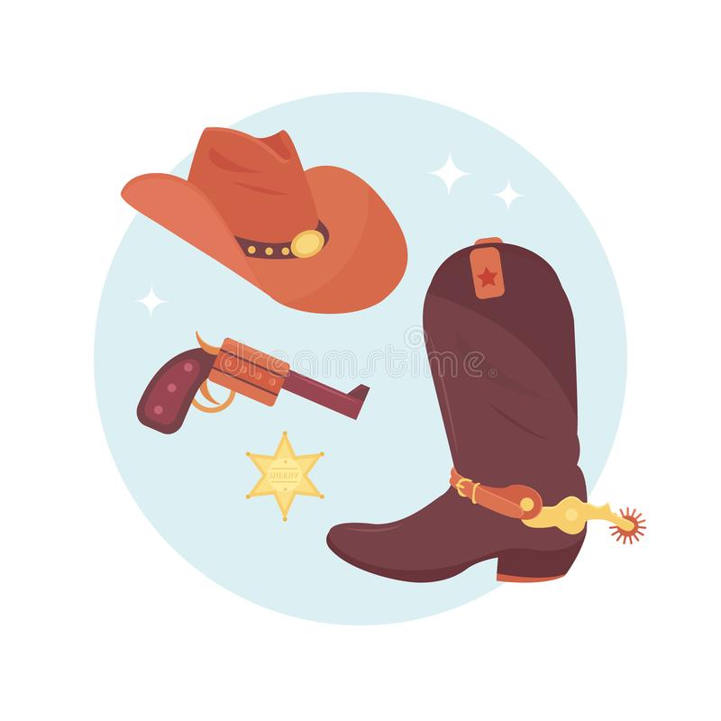 Vilda västernbeståndsdeluppsättning Cowboytillbehör stock illustrationer