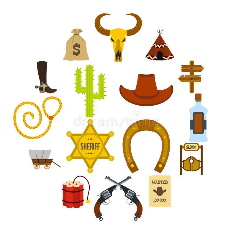 Vilda västerncowboy Flat Icons vektor illustrationer