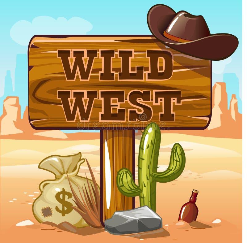 Vilda västerndataspelbakgrund royaltyfri illustrationer