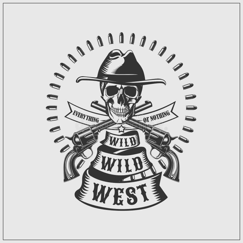 Vilda västernetikett Skalle, kulor och vapen stock illustrationer