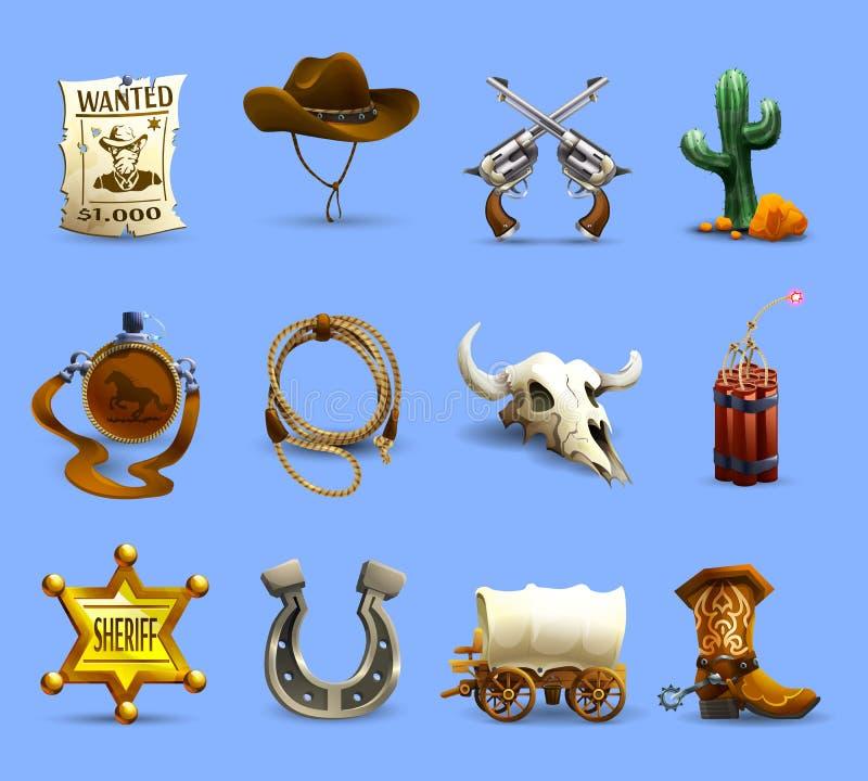 Vilda västernsymbolsuppsättning stock illustrationer