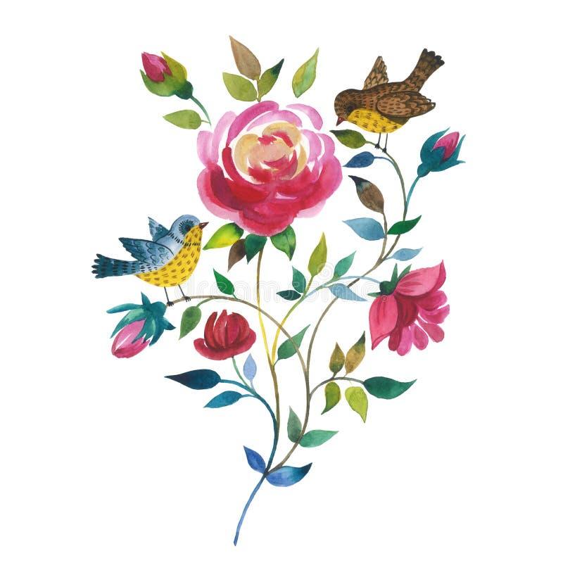 Vildblommarosblomma med isolerade fåglar i en vattenfärgstil stock illustrationer
