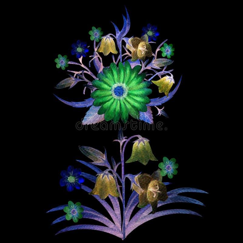 Vildblommor i vattenfärg Blommaillustrationer Bohemiska buketter av blommor vektor illustrationer