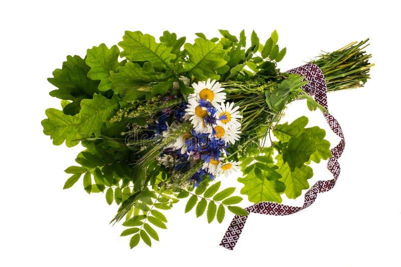 Vildblommor och grönska med det nationella bandet arkivfoto