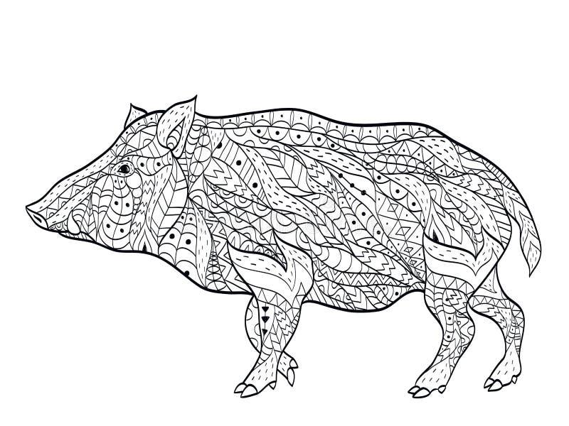 Vildsvinfärgläggningvektor för vuxna människor stock illustrationer