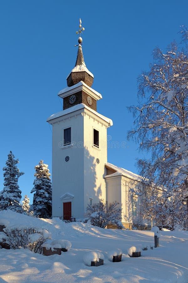 Vilhelmina教会在冬天,瑞典 免版税图库摄影