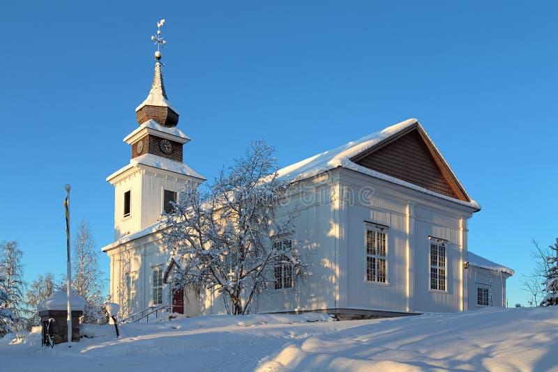 Vilhelmina kyrka i vinter, Sverige arkivfoton