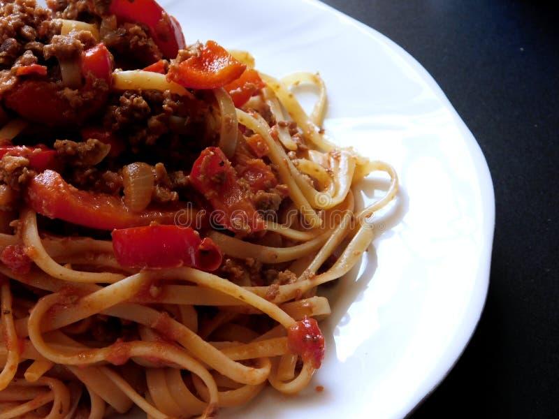 Vilken bra spagetti! fotografering för bildbyråer