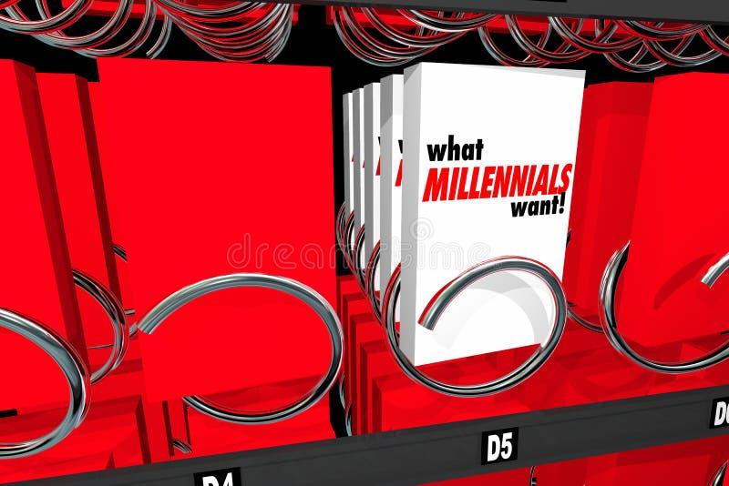 Vilken Millennials önskar mellanmålvaruautomaten för utveckling Y vektor illustrationer