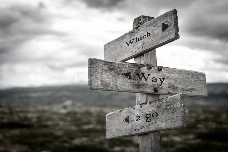 Vilken väg att gå trävägvisaredet fria i natur arkivbild