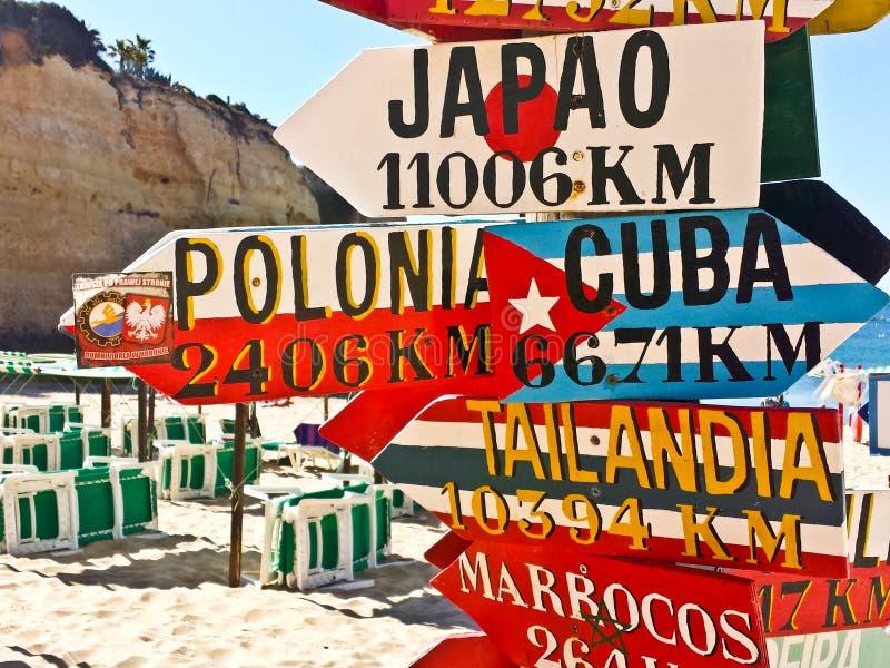 Vilken väg på stranden Portugal arkivbild