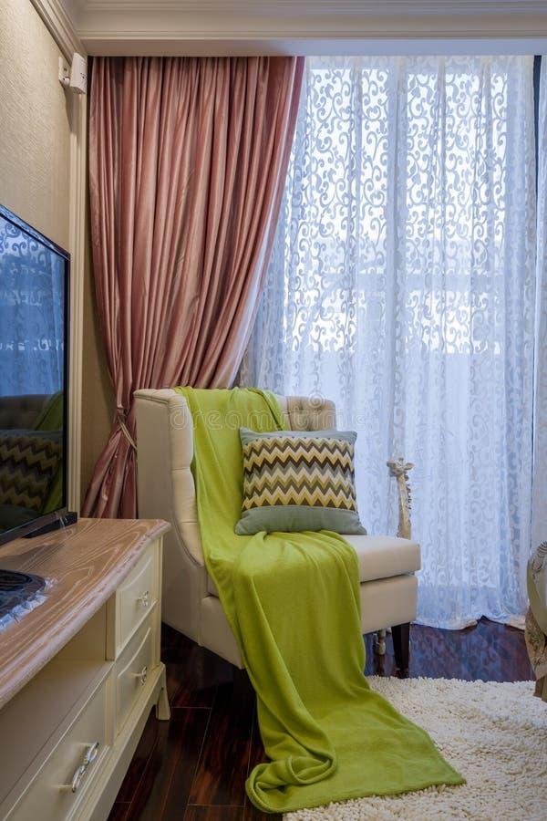 Villa à la maison intérieure de luxe moderne de conception de sofa photographie stock