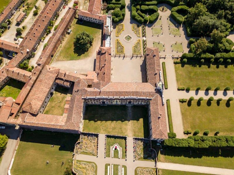 Villa Arconati, Castellazzo, Bollate, Milaan, Italië Luchtmening van Villa Arconati stock afbeelding