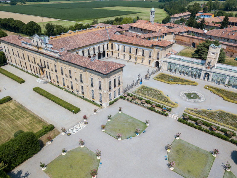 Villa Arconati, Castellazzo, Bollate, Milan, Italien flyg- sikt Villa Arconati, Castellazzo, Bollate, Milan, Italien arkivfoton