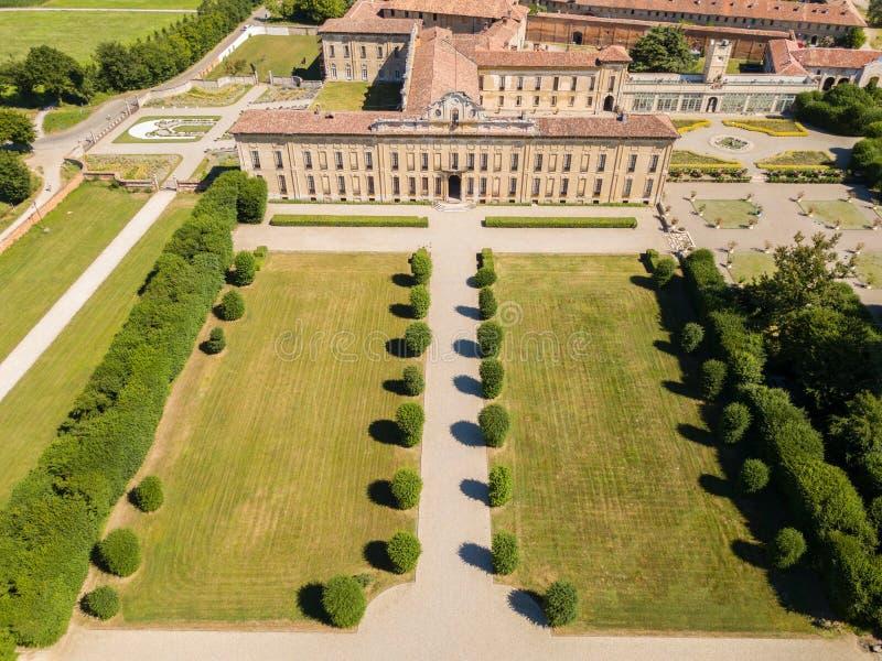 Villa Arconati, Castellazzo, Bollate, Milan, Italy. Aerial view of Villa Arconati. 17/06/2017. Gardens and park, Groane Park. Palace, baroque style palace royalty free stock photo