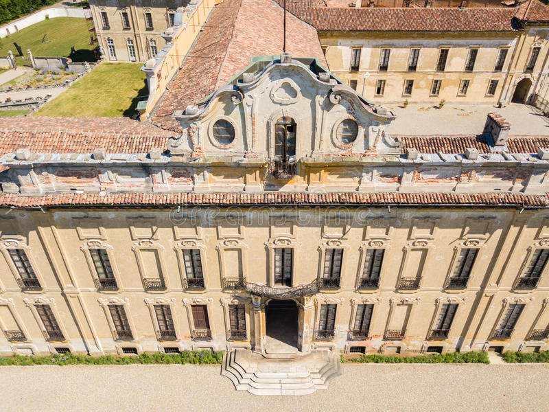 Villa Arconati, Castellazzo, Bollate, Milan, Italy. Aerial view of Villa Arconati. 17/06/2017. Gardens and park, Groane Park. Palace, baroque style palace stock image