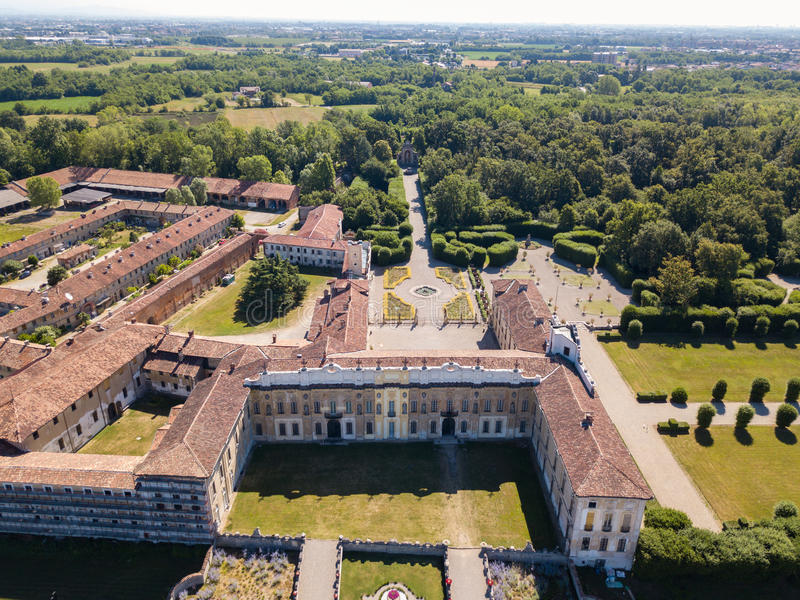 Villa Arconati, Castellazzo, Bollate, Milan, Italy. Aerial view of Villa Arconati. 17/06/2017. Gardens and park, Groane Park. Palace, baroque style palace royalty free stock photography