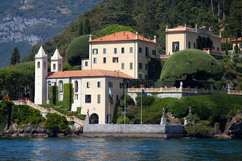 Villa Balbianello sur le lac Como, Italie images libres de droits