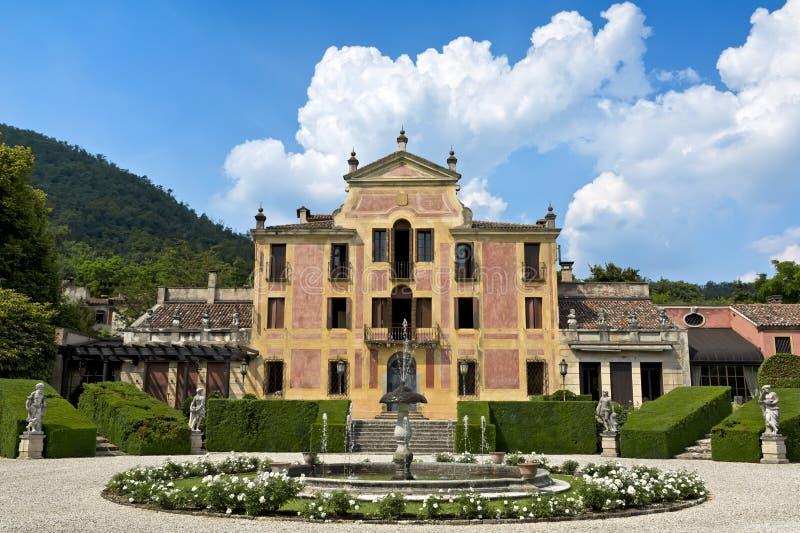 Villa Barbarigo, Pizzoni Ardemani, Valsanzibio, historisk slott (det17th århundradet) royaltyfri fotografi