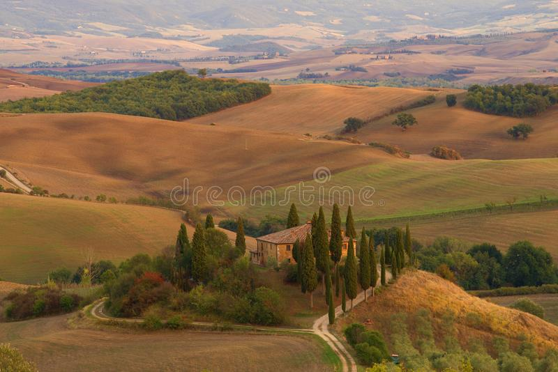 Villa Belvedere in the Tuscan morning landscape. Italy. Villa Belvedere in the Tuscan morning landscape, Italy royalty free stock photography