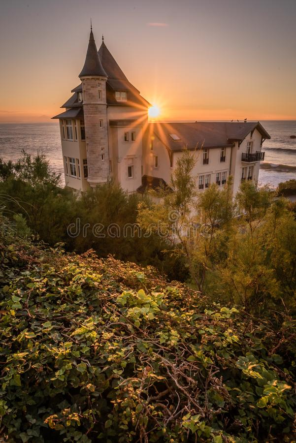 Villa Belza in Biarritz, sunset over the sea royalty free stock photo