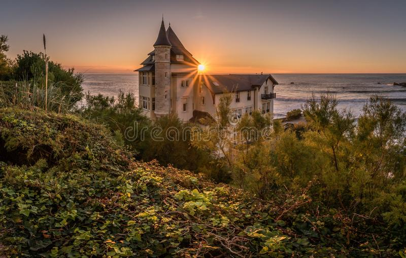 Villa Belza at sunset in Biarritz, basque country stock photos