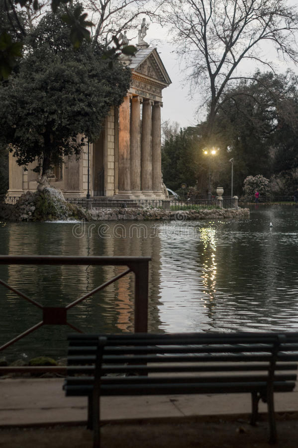 Villa Borghese. The lake in Villa Borghese gardens, Roma, Italy stock photography