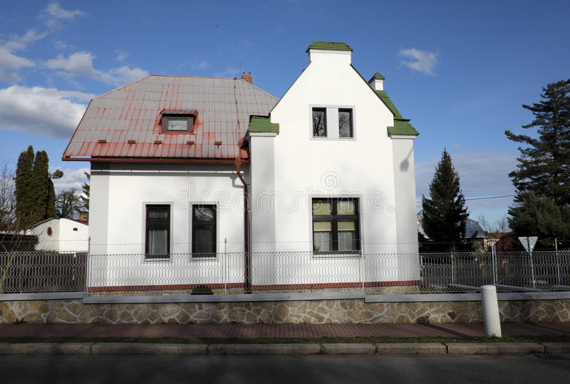 Villa. Cesky Brod, Czech Republic - February 15: Visit and take photo of the small town on February 15, 2016 in Cesky Brod, Czech Republic stock photography