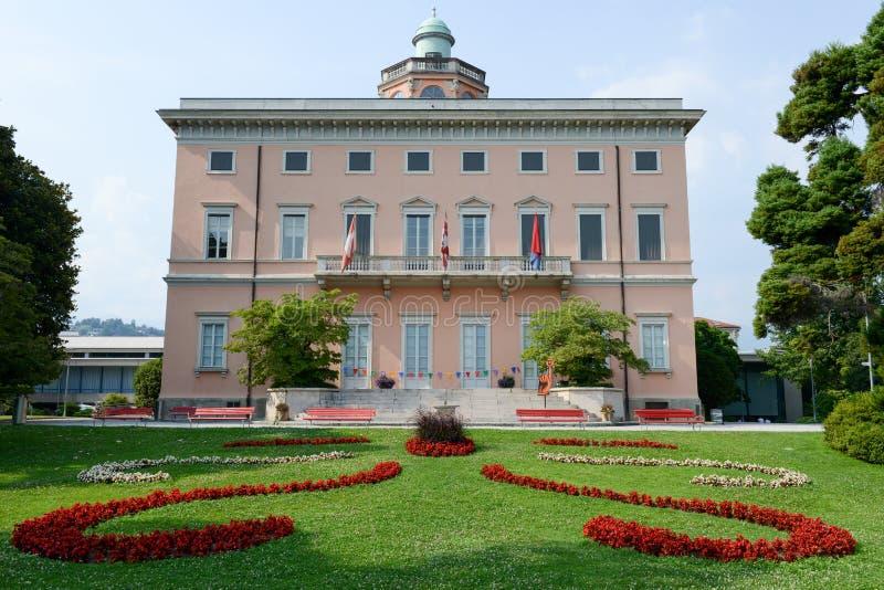 Villa Ciani sul parco botanico di Lugano immagine stock