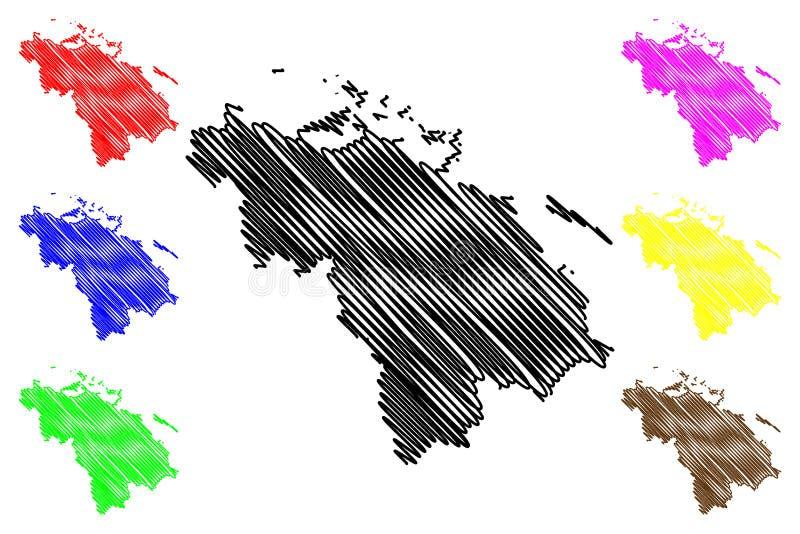 Villa Clara Province Republic of Cuba, Provinces of Cuba map vector illustration, scribble sketch Villa Clara map.  royalty free illustration