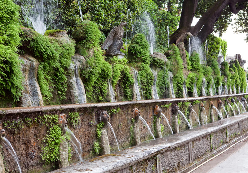 Villa d`Este fountain and garden , Tivoli, Italy. stock photography
